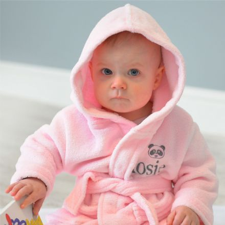 Personalised Child's Panda Dressing Gown In Pink